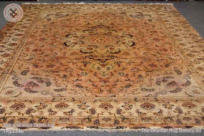 Silk and wool Tabriz rug