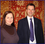 Director Sandre Blake with Rt Hon Jeremy Hunt MP at The Oriental Rug Gallery Ltd.jpg
