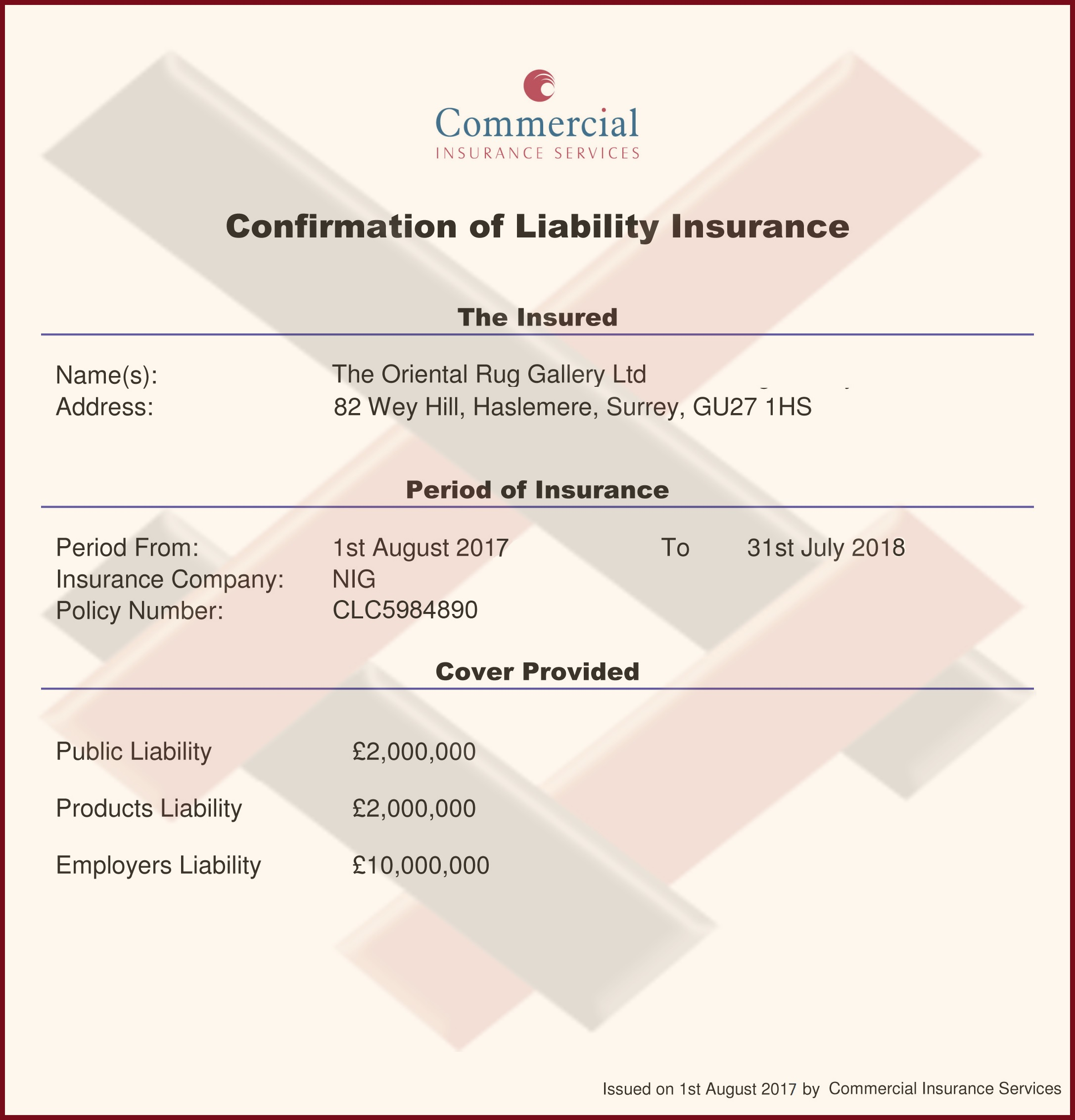 The Oriental Rug Gallery Ltd Certified Insurance Liability 2016-17