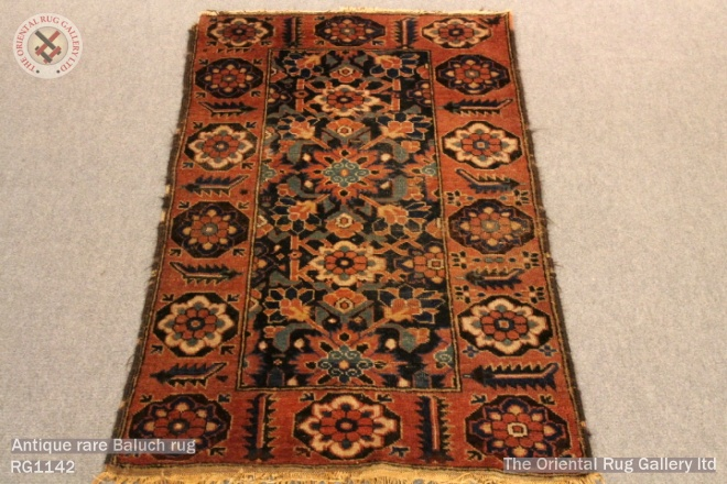 Antique rare Baluch rug
