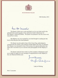 HER MAJESTY THE QUEEN'S ROYAL THANK YOU LETTER
